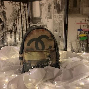 Chanel Graffiti Canvas Backpack Shoulde Bag Medium